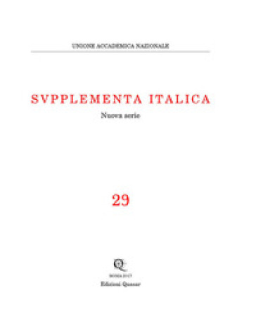 Supplementa italica. Nuova serie. 29. - M. L. Lazzarini | Jonathanterrington.com
