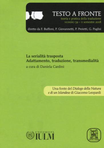 Testo a fronte. 59: La serialità trasposta. Adattamento, traduzione e transmedialità
