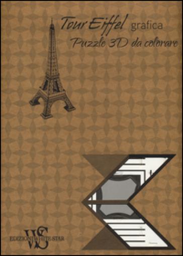 Tour Eiffel grafica. Puzzle 3D da colorare