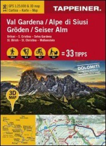 Val Gardena-Alpe di Siusi. Ortisei, S. Cristina, Selva Gardena. Cartina topografica. Carta panoramica 3D. 1:25.000 Ediz. italiana e tedesca