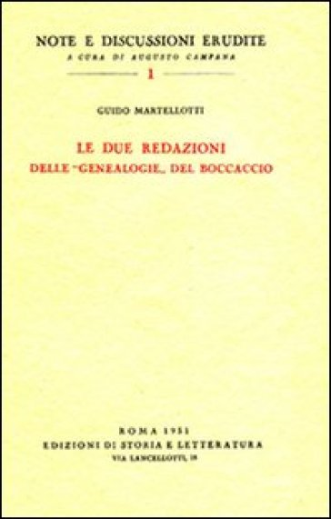 Le due redazioni delle «Genealogie» del Boccaccio - Guido Martellotti | Ericsfund.org